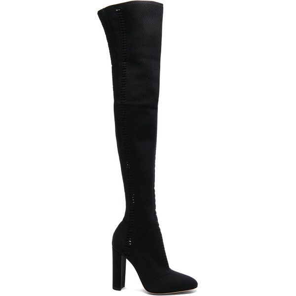 Gianvito Rossi Knit Vires Thigh High Boots (£1,749) ❤ liked on Polyvore featuring shoes, boots, over-the-knee boots, high heel boots, above knee boots, over-the-knee high-heel boots, over-knee boots and thigh high boots