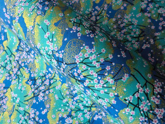 Japanese kimono fabric cotton blue Sakura fat quarter quilt