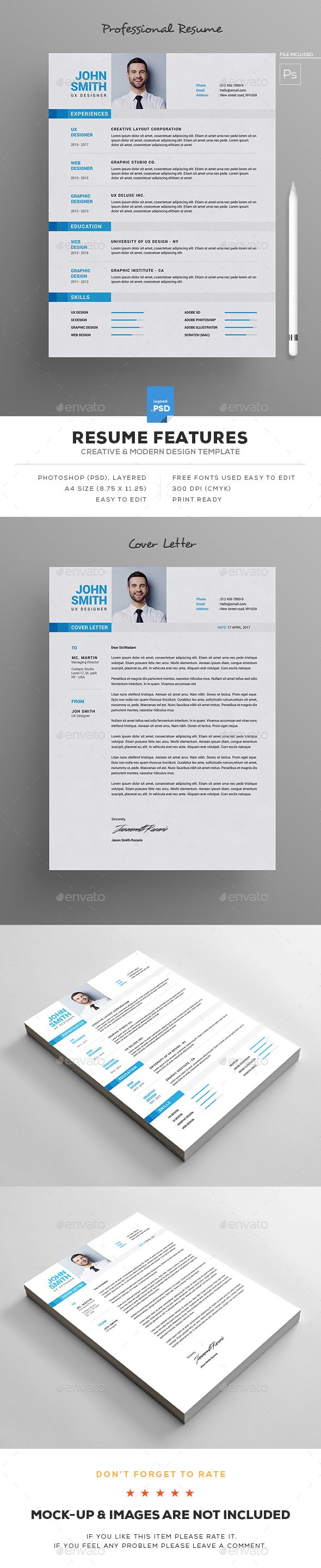 #Resume - Resumes #Stationery Download here: https://graphicriver.net/item/resume/19325053?ref=alena994