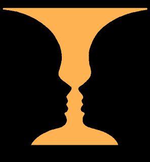 Optische Täuschung - Kippbild: Ein Kelch oder zwei Gesichter?