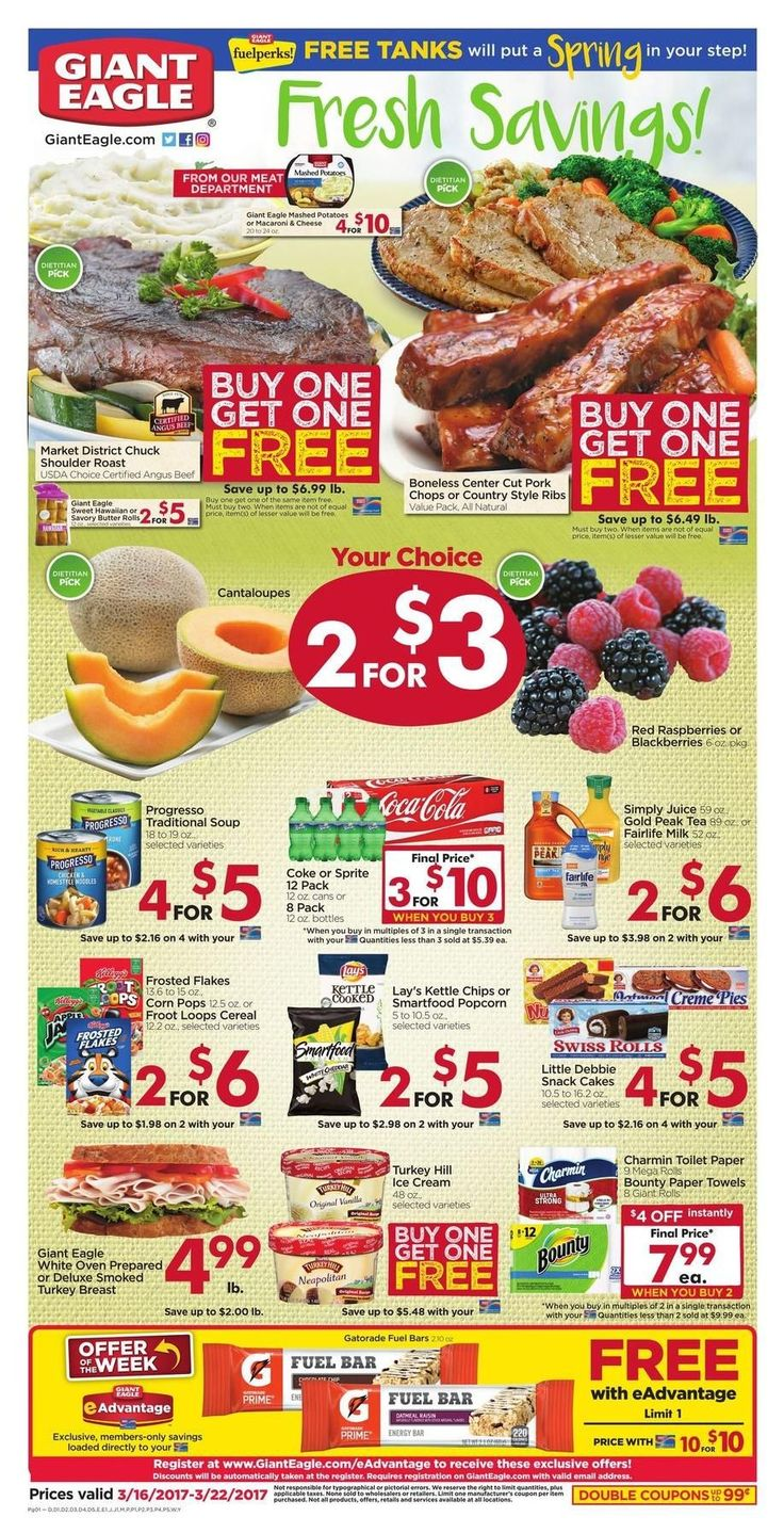Giant Eagle Weekly Ad Circular March 16 - 22 United States #gorcery #food #savings #GiantEagle