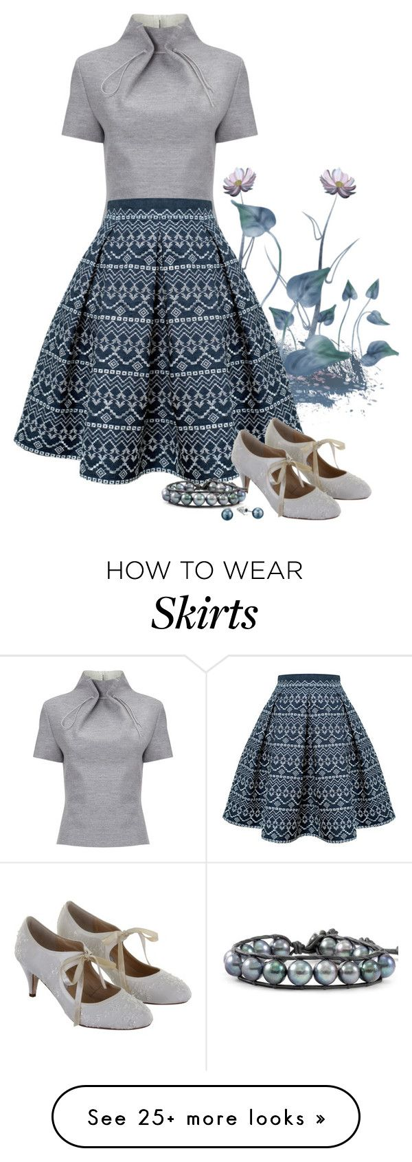 """#286: Print Skirt, Grey Top"" by eiluned on Polyvore featuring J. JS Lee, Rumour London, Rainbow Club, Chan Luu and Sam Edelman"