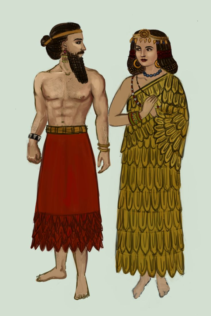 Sumerian Dress is mostly noted by their kaunakes from period of 3500-2500