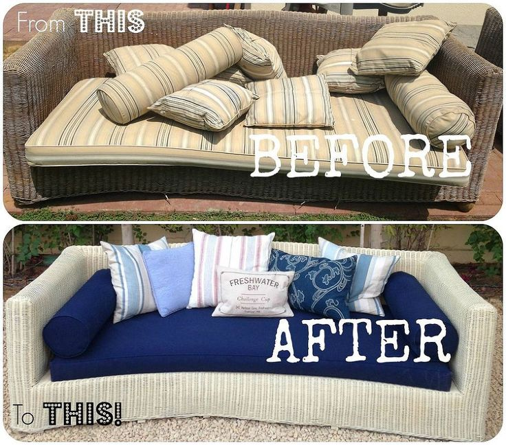 Refurbishing Old Wicker Couches - I wanted to share with you guys the project I have been working on lately - its finally finished! Refurbishing an old wicker s…