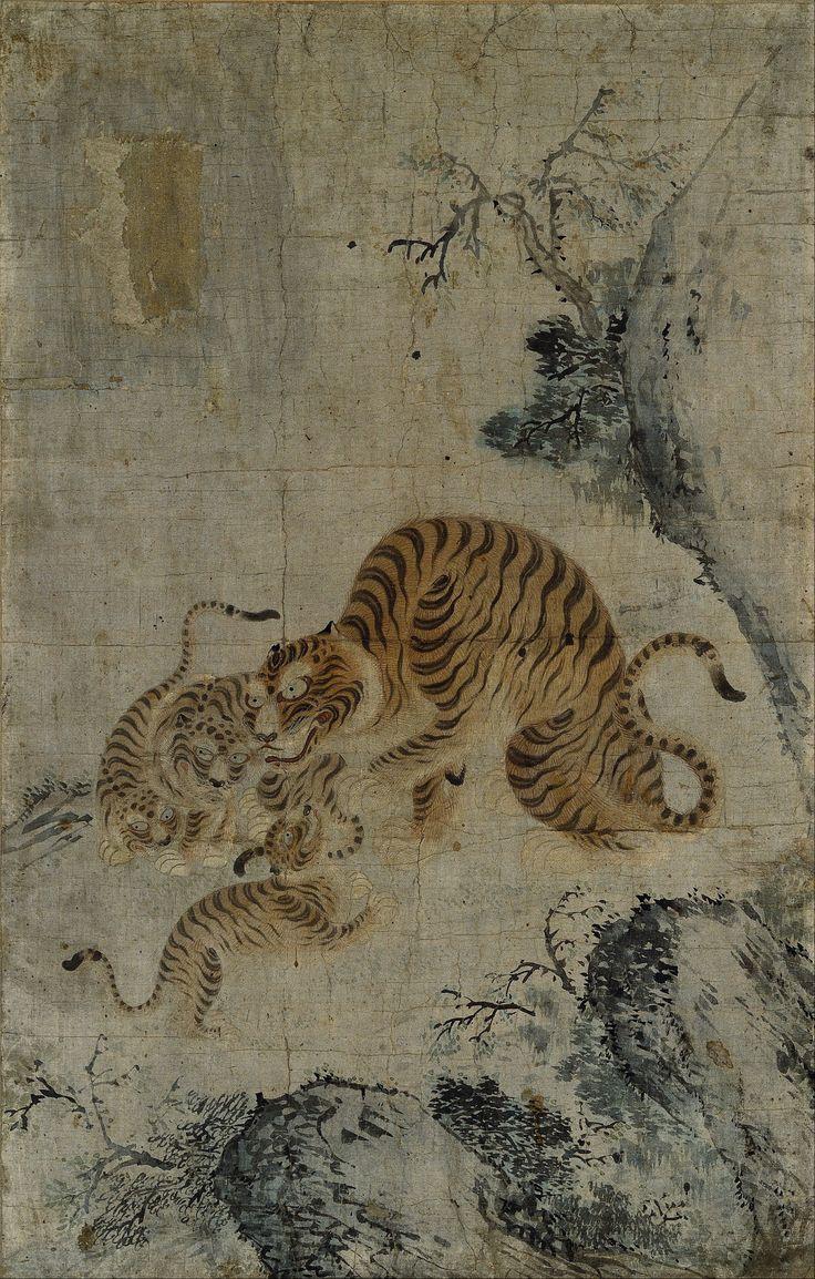 magictransistor:호랑이 가족 (Family of Tigers), Choson period watercolor, 17th century, Korea.
