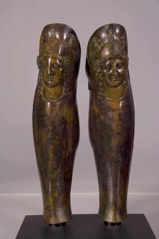 Greek (Thracian?) hoplite greaves, with head of Athena in repousse, 3rd century, BCE