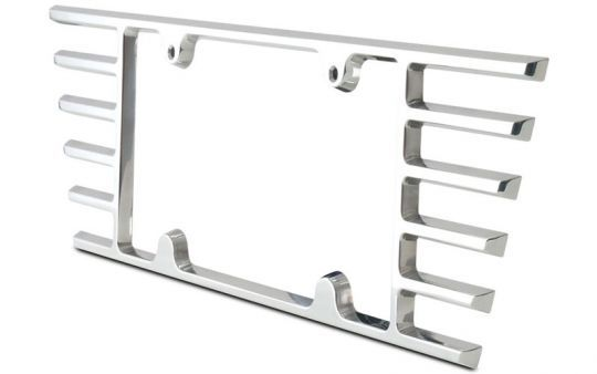 Billet Open End License Plate Frame for C6 and C7 Stingray Corvette  Give your C6 or C7 Stingray Corvette the ultimate in cutting edge billet customization. This billet Corvette open ended license plate frame was designed for the C7 Stingray but also fits the C6.