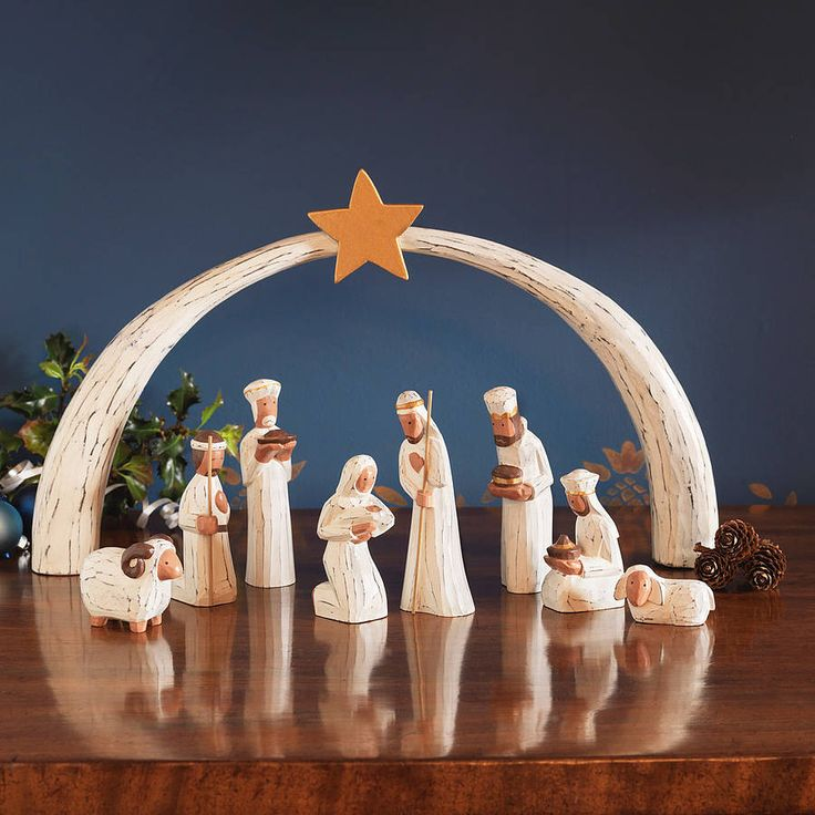 Holy Family Admires Jesus Nativity Religious Christmas: Nativity Sets, Vintage And Hands