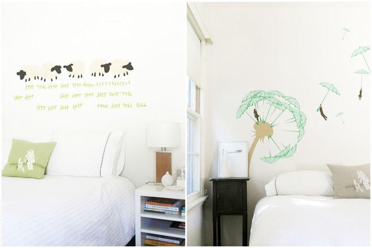 Декоративные виниловые наклейки на стене в спальне: считайте барашков и улетайте далеко в страну грез #декор #наклейки #интерьер #decor #interior #sticker