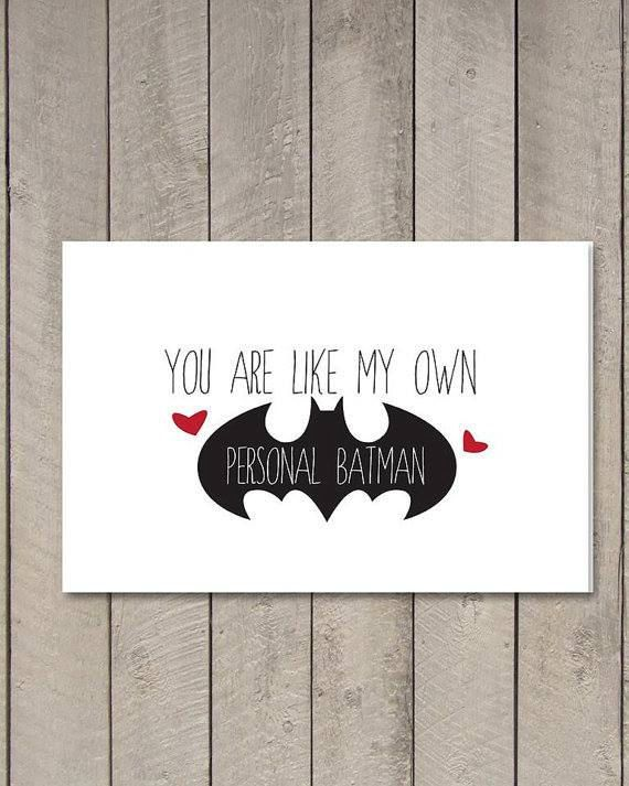 Printable Batman Card // I love you // Men's Valentine or Anniversary Card by WhiteRoseWriters