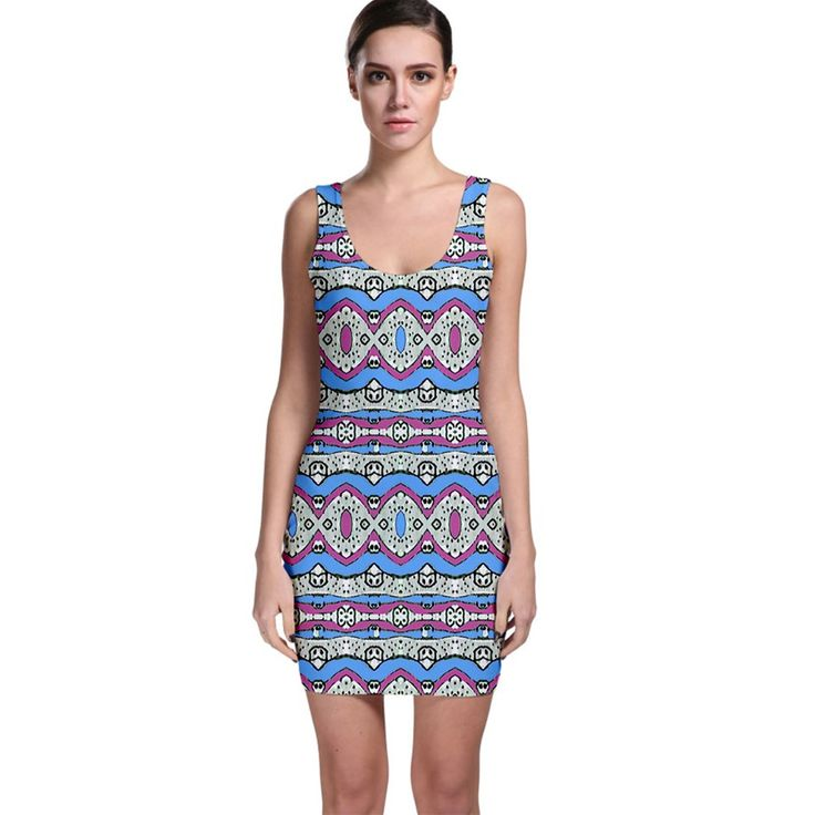 Multi coloured bodycon dress aztec style geometric tribal print in pastel pink, cyan and gray colors ideal for tribal or ethnic styles fans or just for people who likes colorful designs in pastel tones.