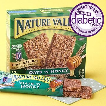 "Best Nutrition Bar Winner: Nature Valley Crunchy Granola Bars, Oats 'N Honey (naturevalley.com) Why it won: Each foil pouch holds two crunchy and sweet whole grain oat bars. Eat one to stay under 15 grams of carbohydrate. If they fit your carb allowance, two bars supply 16 grams of whole grain, which counts as one of your three daily recommended whole grain servings. Taste-tester's quote: ""Crunchy, toasty, and buttery."""