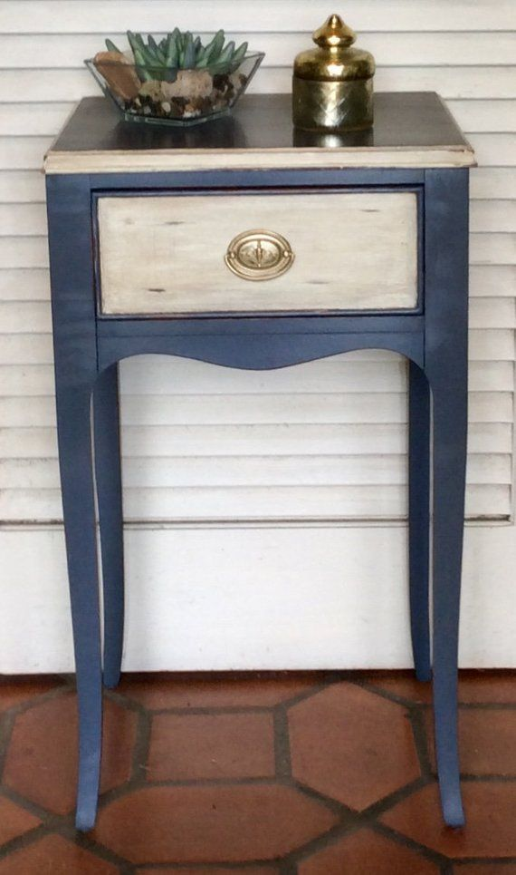 Navy Blue Cream Vintage Nightstand 1940s Blue Painted Furniture