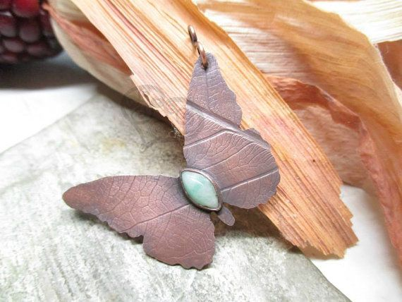 Butterfly pendant / with chain / healing gemstone by DrofiJewelry