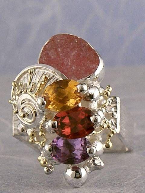 Gregory Pyra Piro #Konst #Smycken Sterlingsilver och Guld med Ädelstenar #Ring Nr. 3012