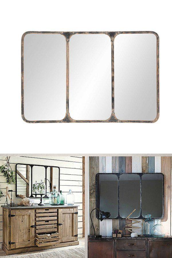Petit miroir industriel aspect rouillé