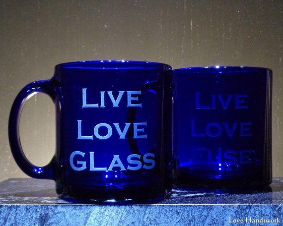 LIVE LOVE GLASS Blue Etched Glass Coffee by LoveHandyWork on Etsy