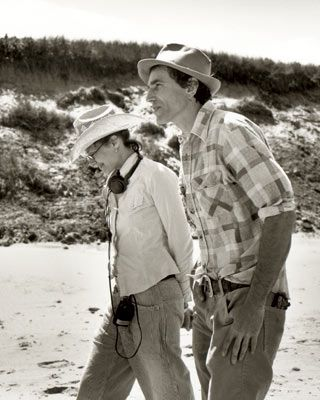 """Daniel Day Lewis and Rebecca Miller on the set of """"The Ballad of Jack and Rose"""", written & directed by Ms Miller."""