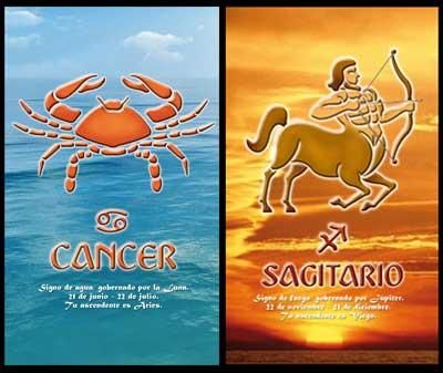 Cancer_Sagittarius:-Chances of success in the relationship are even lower in case of Cancer woman and Sagittarius man. Initially they may feel attractions with each other due to his outgoing and adventurous personality and her passionate and sensitive nature...