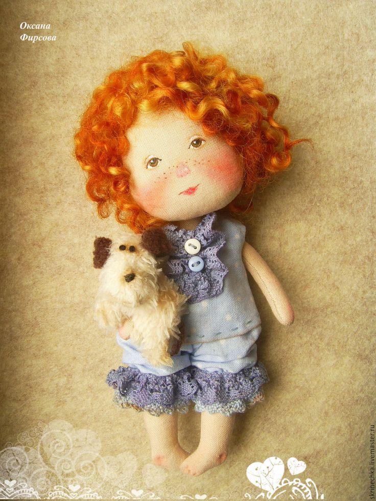 Купить Моя любимая собачка текстильная интерьерная кукла в подарок - голубой, гапчинская, куколка