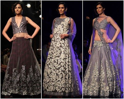 Manish Malhotra This chilly winter witness the easy breezy vibe of florals from Lakme Fashion Week Winter/Festive 2014  Flower goes glossy with Manish Malhotra's #LFW '14 finale collection. Moving away from the subtle floral elegance, the runway sizzled with exotic lenghas, saris, gowns and kalidars in shimmering floral design. www.chimoraprint.com #fashion #digital #print #fabric