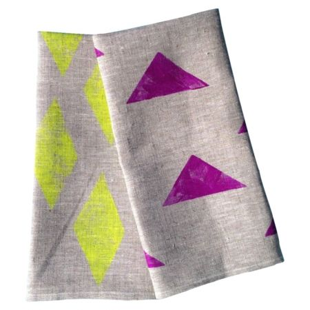 Set of 2 Linen Tea Towels - 'Neon is Forever' & 'The Only Way is Up' (neon violet) - hardtofind.
