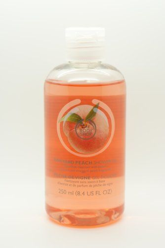 The Body Shop Vineyard Peach Shower Gel 8.4 Oz. by The Body Shop. $14.99. Special edition. This soap-free shower gel smells like freshly picked peaches and leaves skin feeling peachy-soft. The Body Shop Vineyard Peach Shower Gel 8.4 Oz. : This soap-free shower gel smells like freshly picked peaches and leaves skin feeling peachy-soft. * Soap-free * Lather-rich * Delicate peach scent * Special edition