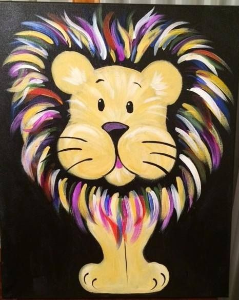 "Muse Paintbar - Hingham, MA - Thursday, 07/23/15 - 3-5:15PM - ""Nothing makes a lion less ferocious than a rainbow mane!"" - $29/painter"