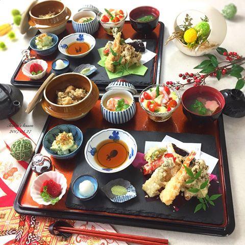 . 今日は天ぷらを中心にした、 おもてなし用の和食レッスン . お料理上手なお二人なので 盛りだくさんにしました . . ✾天ぷら盛り合わせ ✾和風ジュレのカクテルサラダ ✾基本の茶碗蒸し ✾アボカドとクリームチーズのわさびマヨ ✾鶏ときのこの炊き込みご飯 ✾あさりと生麩のお吸い物 ✾いちご . . 明日から連休を頂きまして . 息子1歳のbirthday祝い や、陶器市に出掛けたり . 6連休のGWを満喫致します . . あと、4月にお越し頂いた生徒さんには お伝えしましたが、5月から金額変更を させて頂くことになりました♀️ . 詳しくはホームページをご覧ください . 予めご予約を頂いていた生徒さん(18.19.20日) は今までの金額なのでご安心ください☺️ . . あ、あと(←色々とさーせん笑) 5月13日の韓国料理のおもてなしレッスンに 1名様キャンセルが出ました☺️ . . ------------------------------ . Ohana ...