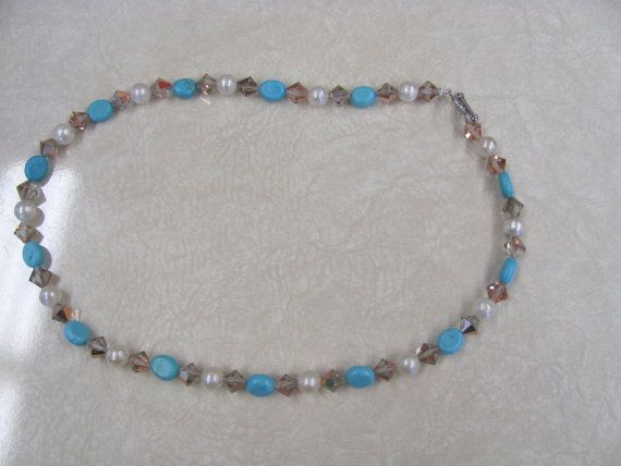Bead necklace Turquoise by StudentShop13 on Etsy
