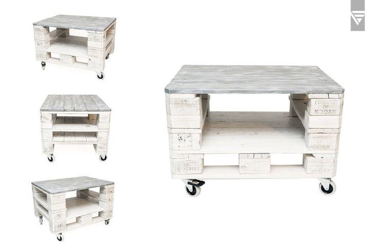 Stolik z palet w bielony z szarym blatem - P.S.D. - PiatyElement - Stoliki