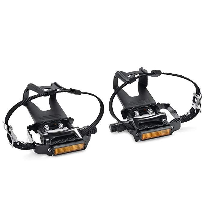 Newsty Bike Pedals With Clips And Straps For Outdoor Cycling And Indoor Stationary Bike 9 16 Inch Spindle Res Indoor Stationary Bike Bike Pedals Bicycle Pedals