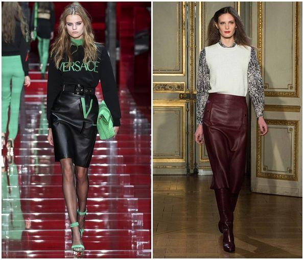 Стильные кожаные юбки осень-зима 2015-2016, фото