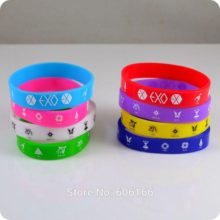 Hot 50x Exo Member Silicone Wristband Bracelets Bangle Korean S M Entertainment Company Fashion Jewelry Wholesale