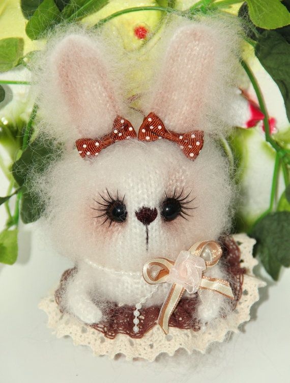 Knitted bunny in white Easter bunny toy knitted rabbit toy