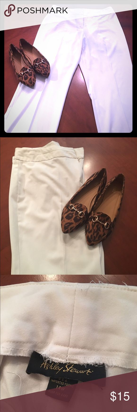 ‼️SALE💥Ashley Stewart Sz 14 Cream/White pants💥‼️ Cream pants size 14 woman's by Ashley Stewart. Good condition, Has small stain along trim of both legs because was a tad too long for me. Also has some pilling in the seat but still a great pair of pants. Ashley Stewart Pants