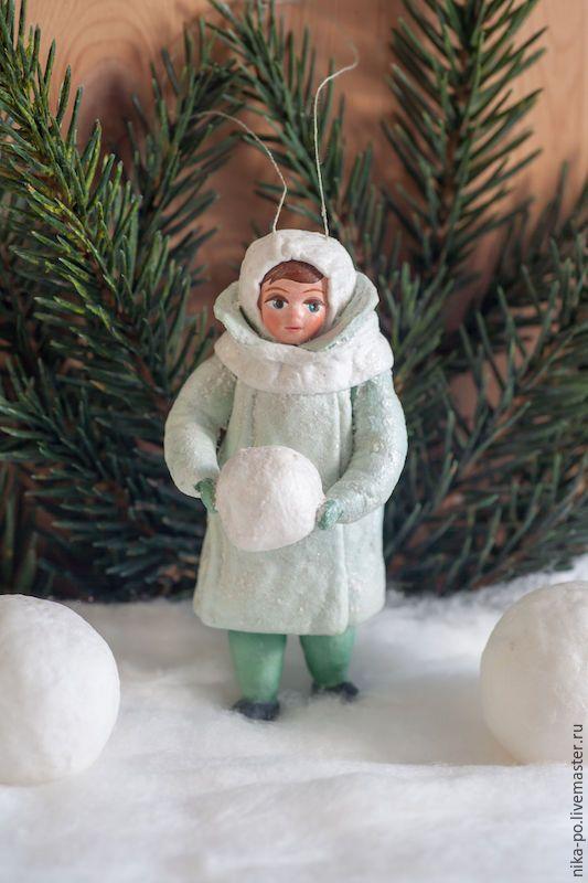 Купить Ватная ёлочная игрушка Закутанные детишки - комбинированный, ватная игрушка, вата, елочные игрушки