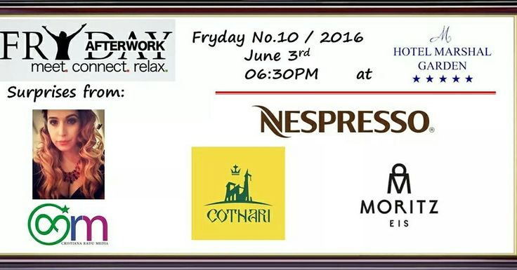 Fryday AfterWork No.10, 03 June, 6.30PM at Marshal Garden Hotel ~ Calea Dorobantilor no.50B We have the pleasure to invite you to meet interesting people, connect with fellow professionals and have a relaxing time in a cosmopolitan gathering at Marshal Garden Hotel. Meet & Connect & Relax! Entrance fee: 8 $ - comes with a complimentary drink and some surprises!!!