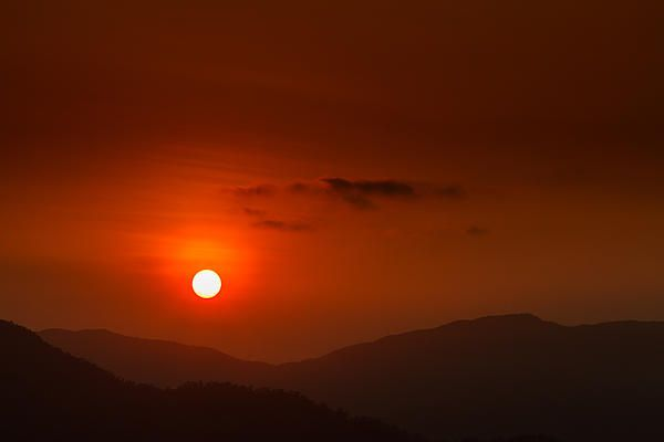 Bushfire Sunset. Sunset over the Atherton Tableland, Far North Queensland, Australia after a day of bushfires. From #redrosedigitalart at www.redrosedigitalart.com