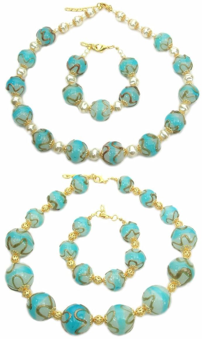 Elegant jewelry made in Murano glass. Necklace made from big but cheap round glass beads (mm.18) and 24k gold decoration, with matching bracelet. An impressive wholesale fashion jewelry piece. Necklace made from big round glass beads (mm.25) 24k gold decoration. If you are a woman who wants exuberant, bright, and elegant jewelry that accentuate your personality.