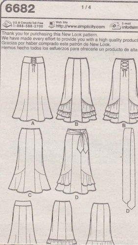 New Look Sewing Pattern 6682 Misses Size 6-16 Gored Skirt Hemline Ruffles Drapes Ties