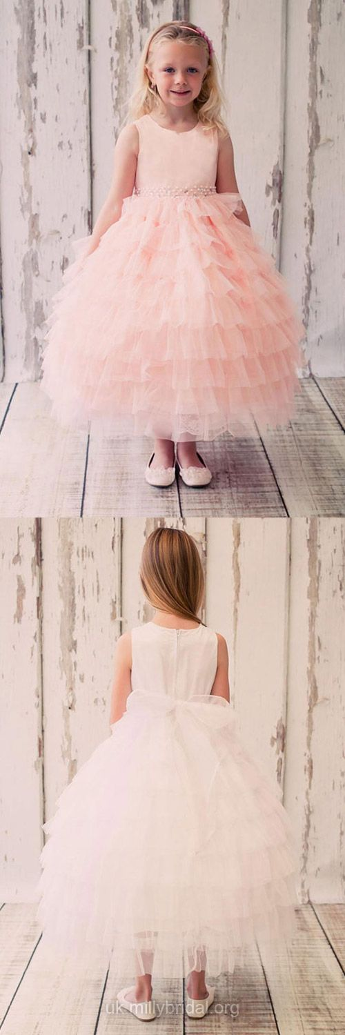 Princess Flower Girl Dresses Pink, Scoop Neck Tulle Beading First Communion Dresses Ankle-length, Junior Bridesmaid Dresses Designer