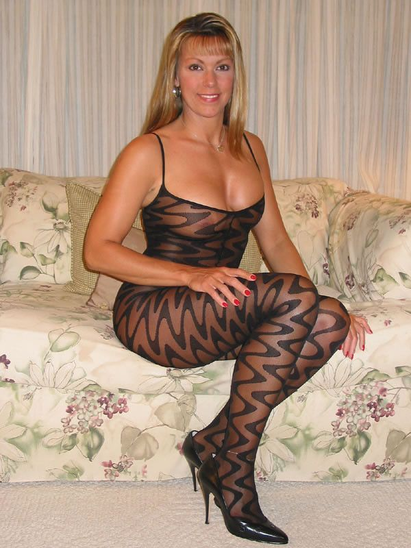 Her patterned nylons drive this guy crazy