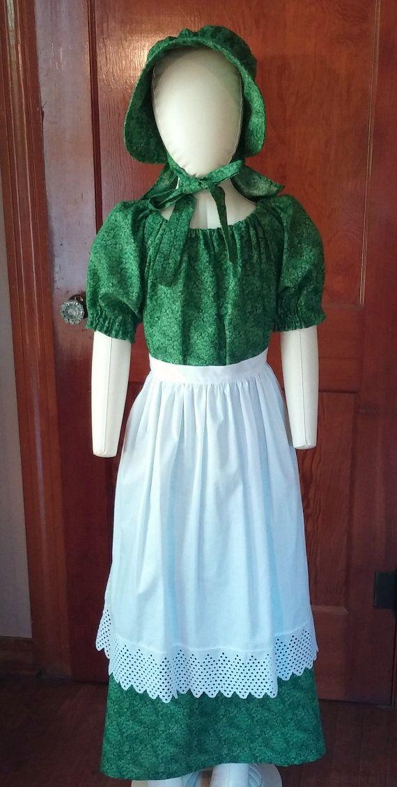 Pioneer dress bonnet and apron set, girls size 7 - 8 by BonnetsandDresses, $59.00