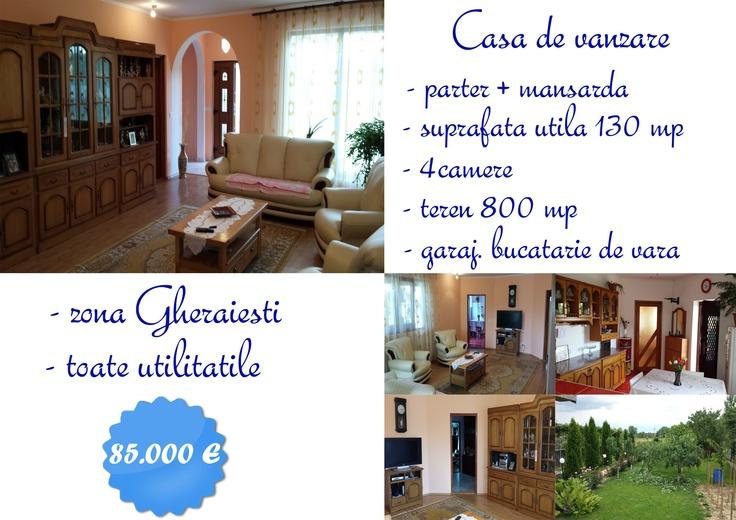 Vila de vanzare- Gheraiesti- toate utilitatile- teren 800 mp