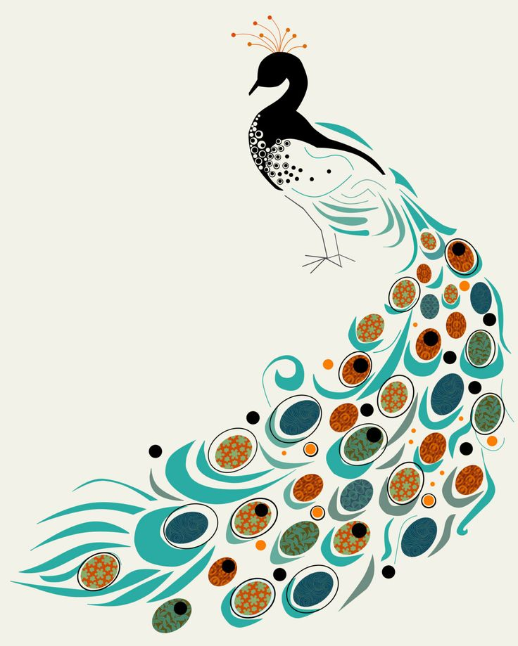 Art Print. 16 x 20 Peacock. Mid century modern. by MarciCheary, $50.00