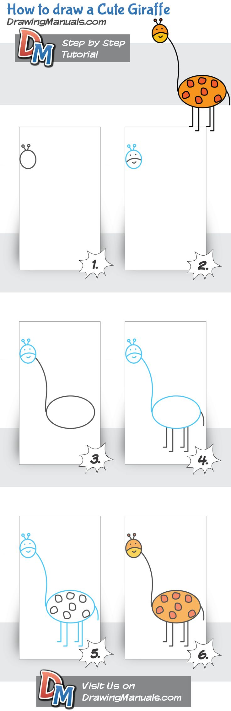 How to draw a Cute Giraffe for Kids. Only on DrawingManuals.com