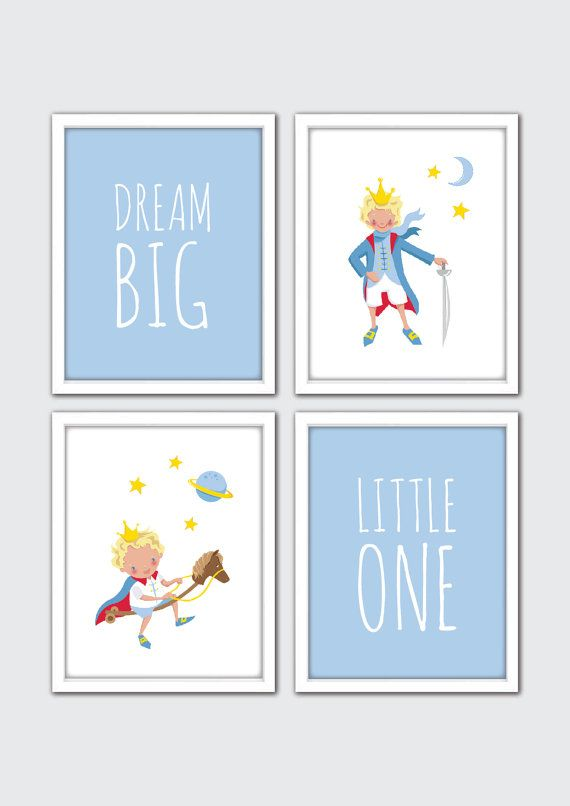 Little Prince Watercolor Print Le Petit Prince illustration, Prince Nursery Art, Poster Nursery Art, Baby Boy Quote Nursery Decor, Dream Big