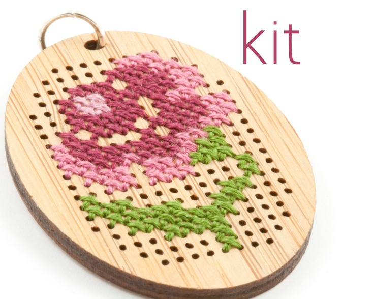DIY Cross Stitch Necklace Kit - Bamboo with Antique Flower Pattern - Oval. $16.00, via Etsy.