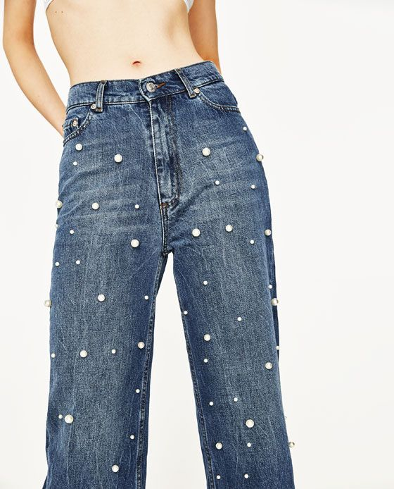 Image 7 of HIGH RISE JEANS WITH PEARL BEADS from Zara